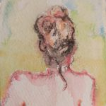A picture of a painting which is a self-portrait by one of Lana's clients after an Indian Head Massage